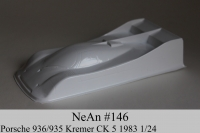 "NeAn Clear body Retro 1/24 Porsche 936/935 Kremer CK 5 1983, Lexan .010"" (0.254 mm) - #146-L"