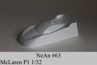 """NeAn Clear Production 1/32 McLaren P1 body, Lexan thickness .007"""" (0.175 mm), w/paint masks — #63-L"""