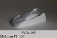 "NeAn Clear Production 1/32 McLaren P1 body, PVC thickness .008"" (0.2 mm), w/paint masks — #63-P"