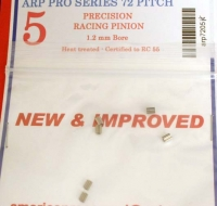 ARP heat treated pinion 72 pitch 5 teeth, 0° angle 1.2 mm bore. Certified to RC55 - #7205H