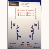 ATTAN SAUBER C34 FERRARI STICKERS, sheet for 4 bodies, w/cut outline, sheet 167 х 110 mm