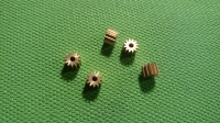 ZHB PINION 48 PITCH, 12T, 0° angle 2 mm bore, BRASS (This is press-on style pinion gear) - #412