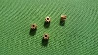 ZHB PINION GEAR 48 PITCH, 10T, 2 mm bore, BRASS (This is press-on style pinion gear) - #410