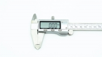 "Digital Calipers 150 mm (6""). Accuracy: +/- .02mm/.001inch. Plastic box and 2 pc battery."
