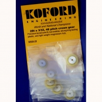 """KOFORD Crown gear 48 pitch 28 teeth,  3/32"""" axle,  Ø17.75 mm, with screw (special order) - #M668-28"""