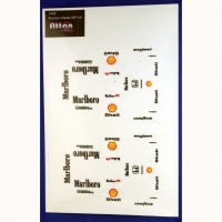 ATTAN McLaren Honda MP 4/6 1992 STICKER, sheet for 4 bodies, w/cut outline, sheet 167 х 110 mm