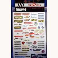 TAYLO RACING SPONSOR STICKERS #1, w/cut outline, sheet 167 х 110 mm- #001