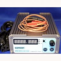 GOPHERT 0- 16 volt 10 amp switching DC Power Supply. Adjustable voltage displays amps or voltage. 110v or 220v. Wires are attached. Weight is 990 gr. Dimensions: 120 x 55 x 168mm.
