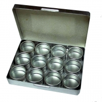 WRIGHTWAY ALUMINUM BOX 135×105×21 mm with 12 containers - #WW200
