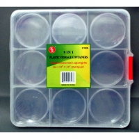 WRIGHTWAY ORGANAISER 137×137×25 mm with 9 sections and 9 containers, transparent plastic - #WW210