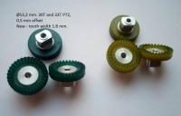 """Шестерня корончатая гипоидная 72 pitch 33 зуба, со смещением 0.5 мм, под ось 3/32"""",  Ø13.2 мм, зеленая - Offset 0.5mm"""