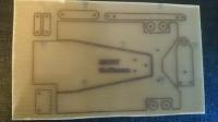 """Заготовка для изготовления шасси класса ТА-24 """"Стандарт"""". Лист 100 х 200 мм, толщиной 1.5 мм с нанесенным чертежом деталей шасси. Масштаб 1:24"""