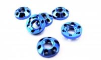 JK Гайка токосъемника дюралевая облегченная, PRO-версия, синее анодирование, круглая, под специальный ключ #JKL30 - #JKU61-6