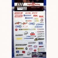 Набор наклеек на кузов Racing decals #003, с вырезанным контуром, лист 167 х 110 мм - #003