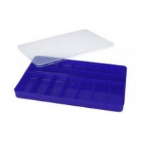 Органайзер для деталей размером 145×232×23 мм, синий с прозрачной крышке